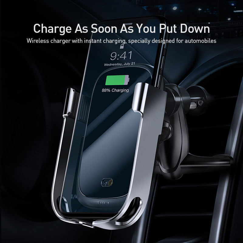 BASEUS Car Phone Holder Gravity Air Vent Mount Wireless Charging Bracket Rock-solid Vehicle Mounted Holder Wireless Charger For iPhone Samsung Sony LG HUAWEI Google - Hot Phone Tech