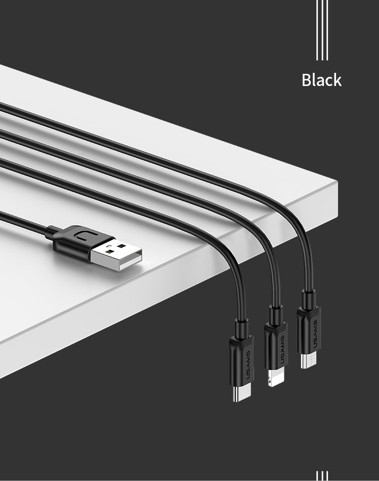 USAMS 3 In 1 Mobile Phone Cable Charging Data Lightning Micro USB Type C Cable For Samsung Xiaomi Sony LG HUAWEI Google Data Sync Charger USB Cable - Hot Phone Tech