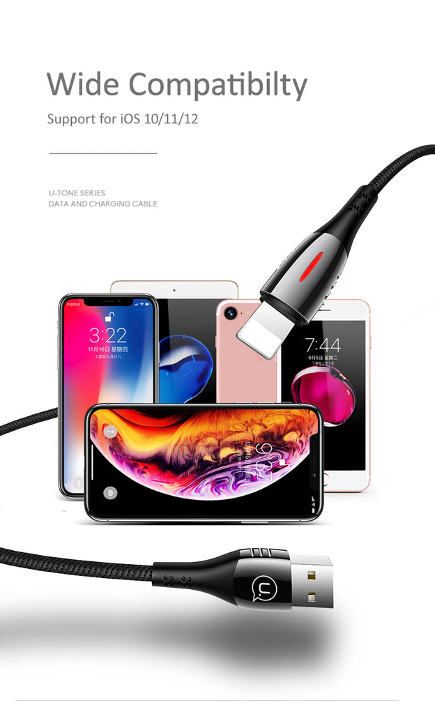 USAMS Lightning Cable Smart Auto Power Off Light Cable Fast Charging Data SYNC Cord For iPhone XS MAX XS XR X 8 7 6 - Hot Phone Tech