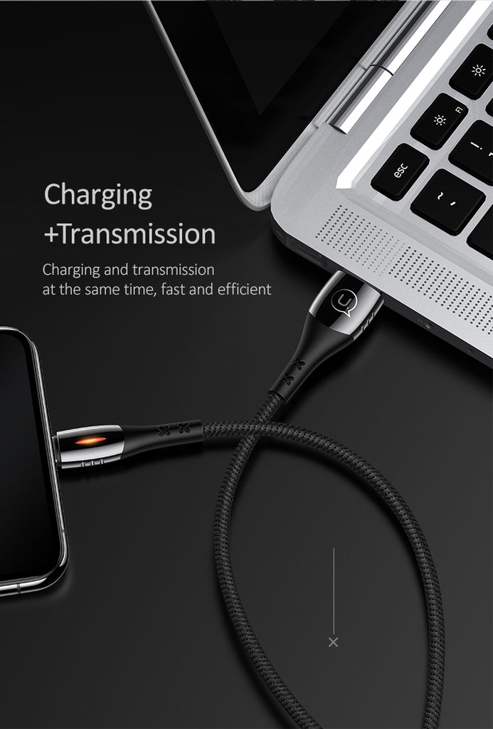 USAMS Smart Auto Power Off LED Light Cable Fast Charging Data SYNC Lightning Cord For iPhone XS MAX XS XR X 8 7 6 - Hot Phone Tech
