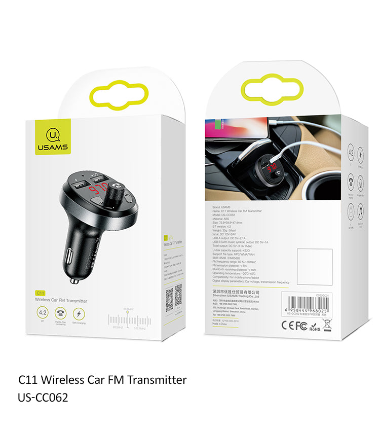 USAMS Car Charger Charging Handsfree FM Transmitter Bluetooth Car Kit LCD MP3 Player Dual USB Car Phone Charger For iPhone Samsung Sony LG HUAWEI Google - Hot Phone Tech