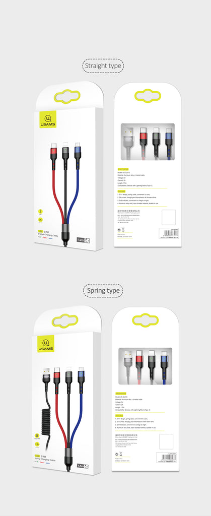 USAMS 3 in 1 Micro USB Cable Type C Lightning Fast Charging Charger Cable For iPhone Samsung Sony LG HUAWEI Google - Hot Phone Tech
