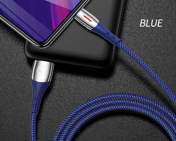 USAMS Micro USB Cable Auto Disconnected Nylon Braided Cable With LED light support QC 3.0 Quick Charge Cable For Samsung Sony LG HUAWEI Google - Hot Phone Tech