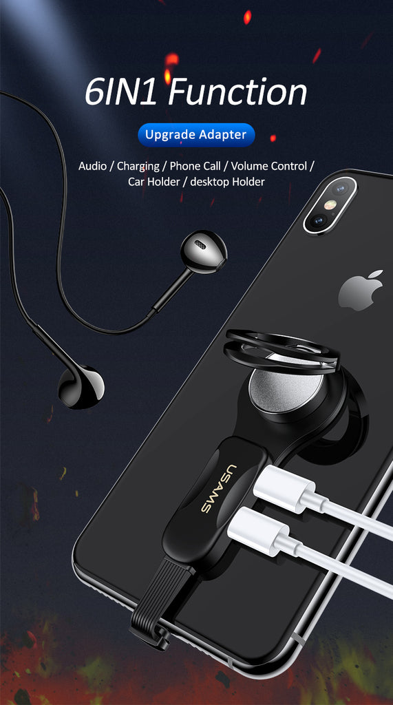 USAMS Dual Lighting Ring Holder Adapter Audio & Charger Rotatable Phone Holder Fast Charging Adapter for iPhone XS MAX XS XR X 8 7 - Hot Phone Tech