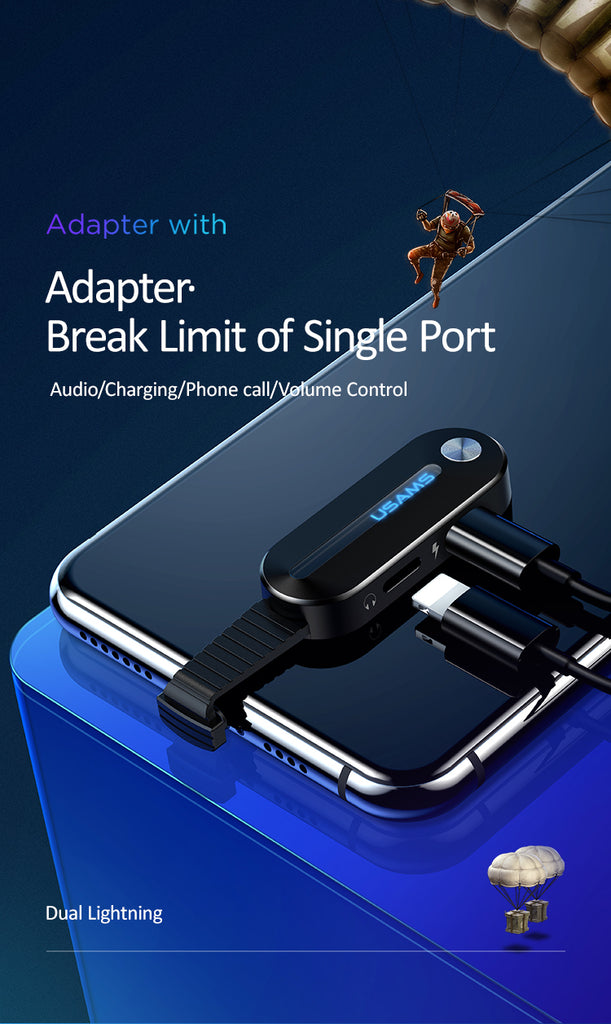 USAMS Dual Lighting Adapter Audio Charging Adapter with LED Light for iPhone XS MAX XS X XR Audio Adapter Charging Converter - Hot Phone Tech