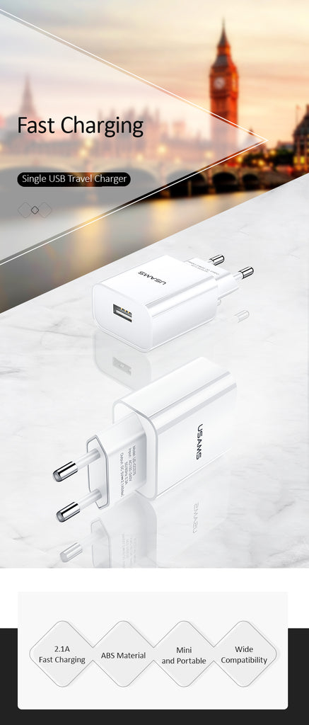 USAMS USB Charger Fast Charging Wall Charger for iPhone XS MAX XR X iPad EU Plug Adapter for Samsung iPhone Sony LG HUAWEI Google Xiaomi Mobile Phone Wall Charger - Hot Phone Tech
