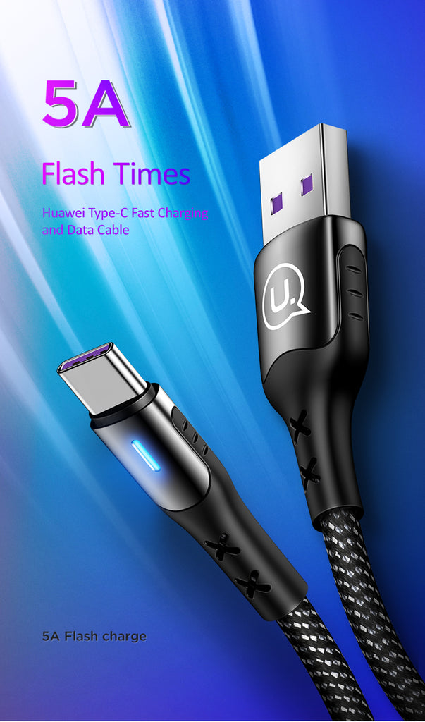 USAMS 5A Super Charger USB Type C Cable For Samsung Sony LG HUAWEI Google USB C Cable Fast Charging Data SYNC - Hot Phone Tech