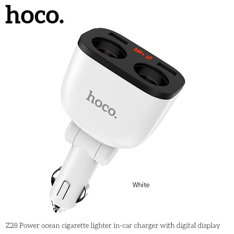 HOCO 3.1A Dual USB Car Charger LED Display 160W 2 Lighter Socket Fast Charge Car Charger Splitter Plug Power Adapter for iPhone Samsung Sony LG Google LG - Hot Phone Tech