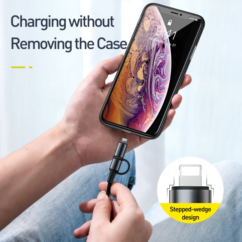 Baseus 60W USB Type C Cable to USB-C Cable PD Fast Charging Charger USB C To USB Cable For iPhone XS Max XS XR X 2 in 1 Cable Wire Cord For iPhone Samsung Sony LG HUAWEI Google - Hot Phone Tech