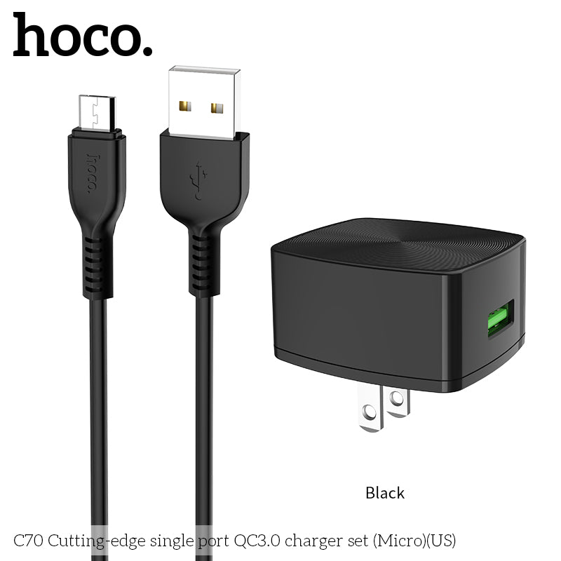 HOCO QC3.0 Quick Charge Universal USB Wall Charger EU US UK Plugs Portable for iPhone Samsung Xiaomi Google Samsung Sony LG Huawei Charging Adapter with Micro cable - Hot Phone Tech