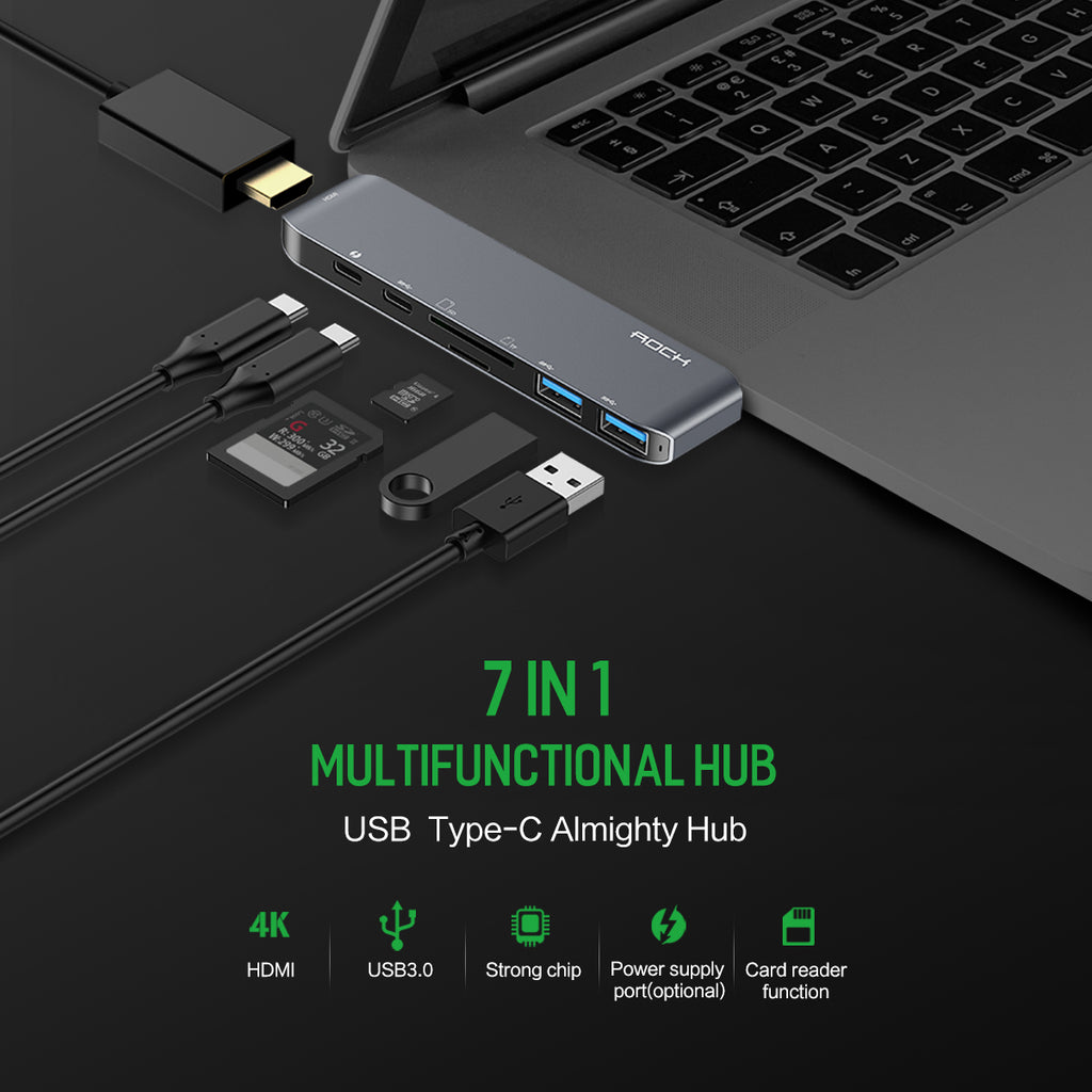 ROCK 7 in 1 Type C Adapter HDMI USB 3.0 USB C SD TF Card Port Multifunctional Hub for MacBook Chrome Book Galaxy Tab S3 Matebook - Hot Phone Tech