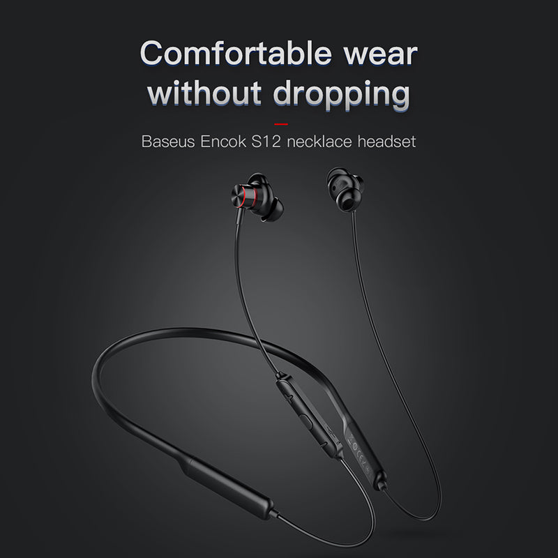 Baseus S12 Neckband Bluetooth Earphone Headphone For Phone Bluetooth 5.0 Wireless Earphones Bass Headset - Hot Phone Tech