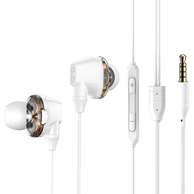 Baseus H10 Double Dynamic 3.5MM Wired Earphone Stereo Bass Sound Earphones With Mic For iPhone Samsung Google HTC HUAWEI LG - Hot Phone Tech