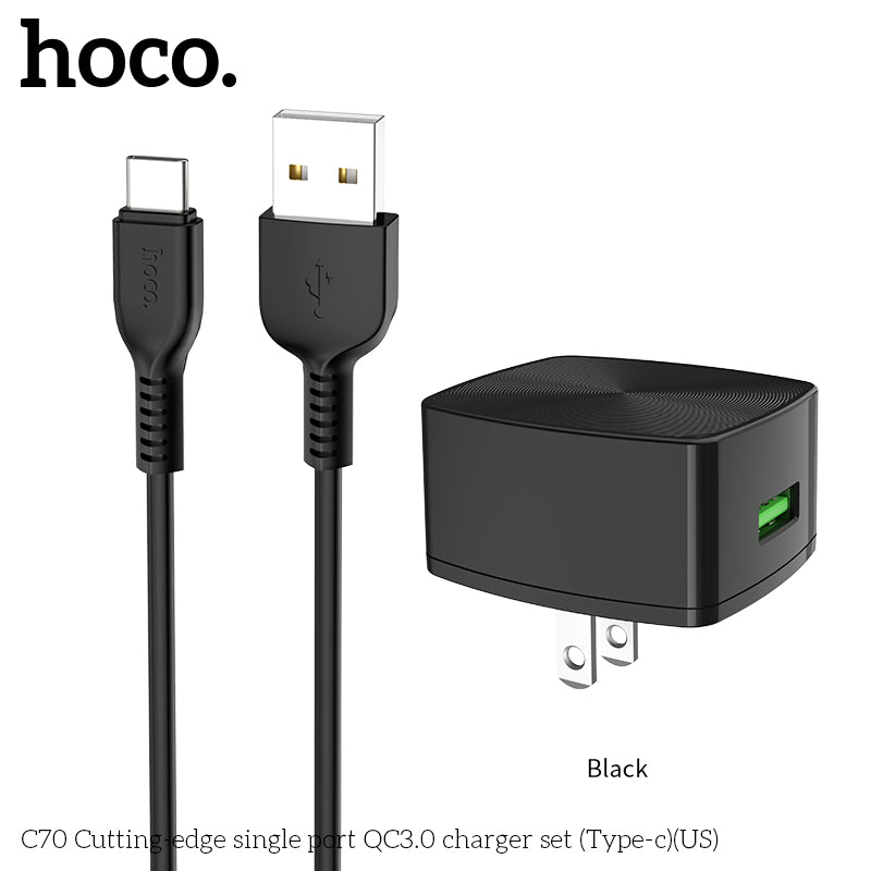 HOCO QC3.0 Quick Charge Universal USB Wall Charger EU US UK Plugs Portable for iPhone Sony LG Google Samsung Xiaomi Huawei Charging Adapter with Type-C cable - Hot Phone Tech