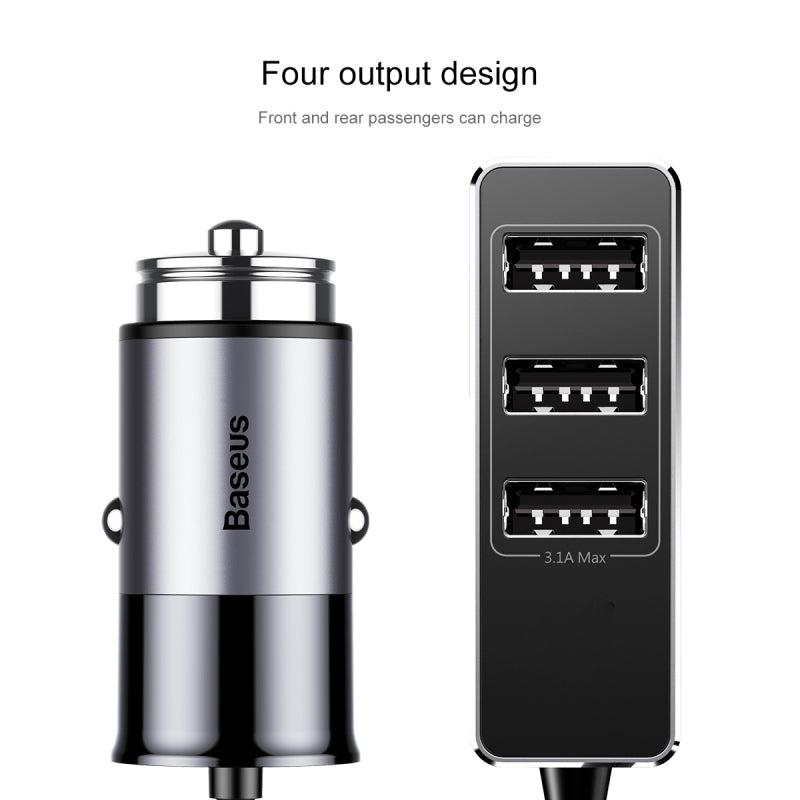 Baseus Universal 4 Output USB Car Charger Fast Charge Metal Mini USB Car-Charger For iPhone Samsung LG HUAWEI Google Sony Mobile Phone Charger - Hot Phone Tech