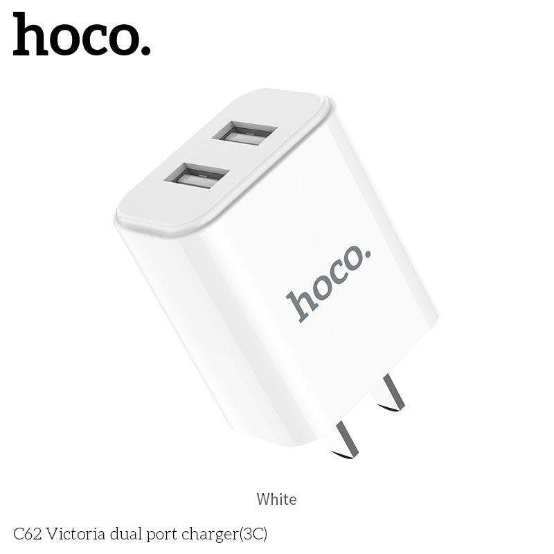 HOCO 5V 2.1A Dual USB Charger US Plug Mobile Phone Charger USB Wall Charger for iPhone Samsung Sony LG HUAWEI Google Travel Charging Adapter - Hot Phone Tech