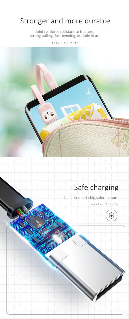 USAMS US-SJ232 U7 Candy Color Cartoon Type-C Fast Charging Cable Charger Data SYNC Cord For Samsung Sony HUAWEI LG Google - Hot Phone Tech