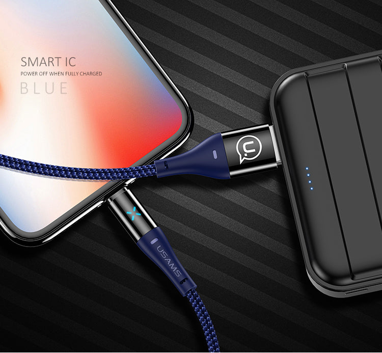 USAMS USB Lightning Cable For iPhone XS MAX XS XR X 8 7 6 6S Cable Fast Charger Cable LED light Cable Data Sync - Hot Phone Tech