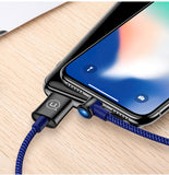 USAMS Auto Power off Lightning Fast Charging Data SYNC Cable Disconnect USB Cable L Bending Data Cord For iPhone XS MAX XS XR X 8 7 6 - Hot Phone Tech