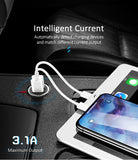 USAMS Smart Fast Mini Car Phone Charger Dual USB mini Car USB Chargers 3.1A Charging 2 USB Port Car-Charger for iPhone Samsung Sony LG HUAWEI Google - Hot Phone Tech