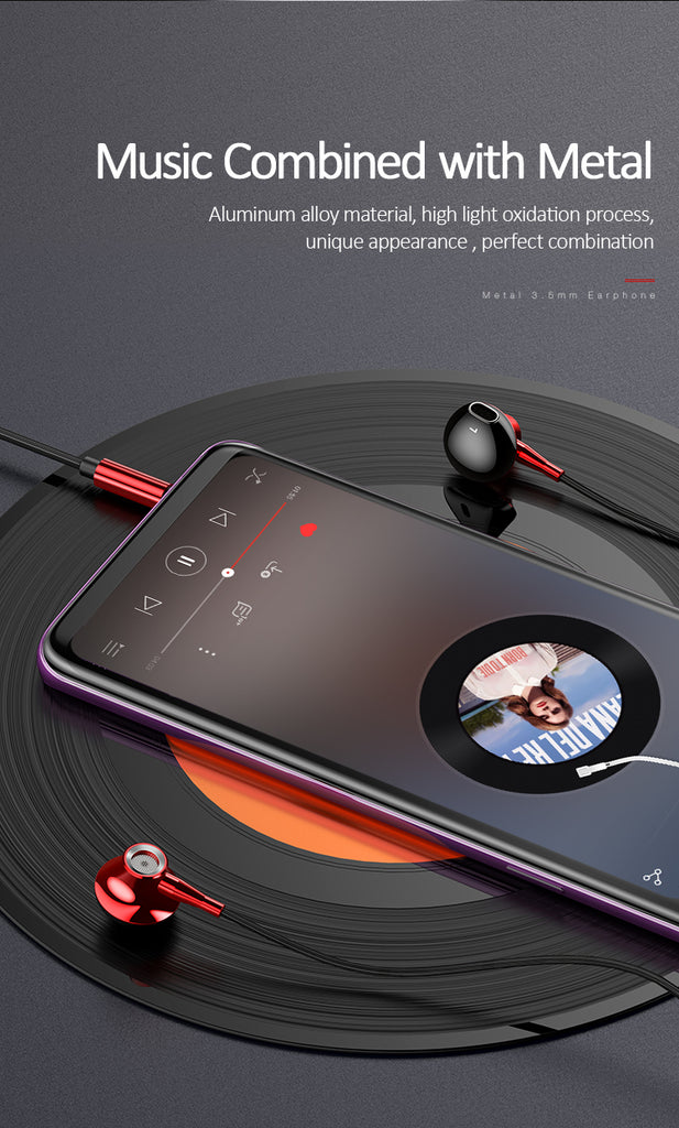 USAMS Metal 3.5mm In-ear Earphone Hifi Wired Headset With Microphone 4D Stereo Inear Earphone For iPhone Samsung Xiaomi LG Sony Google - Hot Phone Tech