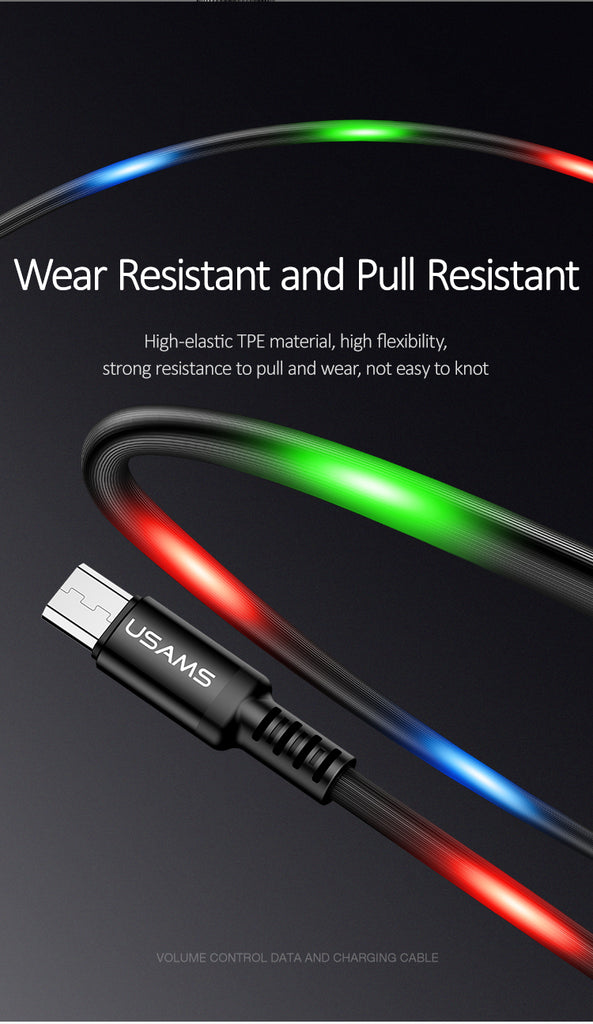 USAMS Dancing Cable Micro USB Cable LED Light Flash Cable Data Sync 2A Fast Charging USB Cable for Samsung Huawei Xiaom Google LG Sony - Hot Phone Tech