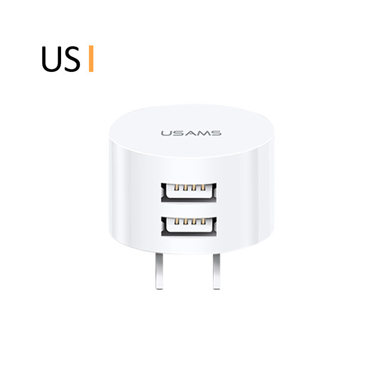 USAMS Dual USB Charger Mini Fast Charger US/EU/UK Plug Adapter Portable Travel Wall Charger Universal for iPhone Samsung Sony LG HUAWEI Google - Hot Phone Tech