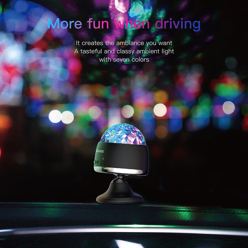 Baseus Mini Car Phone Holder Magic Ball Light For Car 3W Magnetic Base USB Sound Control Effect Lights Mini Atmosphere Lamp - Hot Phone Tech
