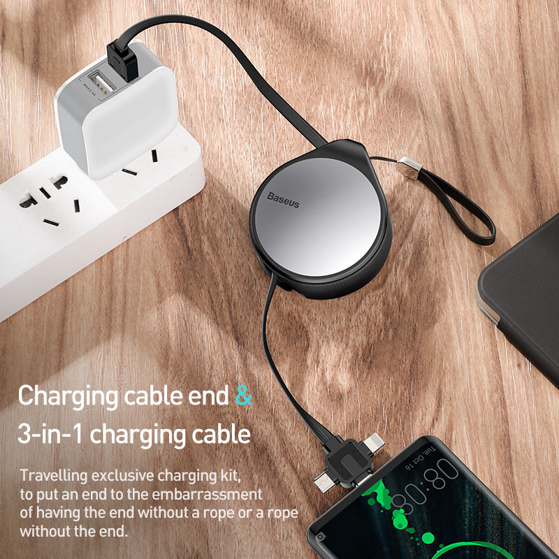 Baseus Letour Dual USB 2.4A Charger Kit White (With Charger+Water 3in1 Cable)White For iPhone Samsung Sony LG HUAWEI Google - Hot Phone Tech