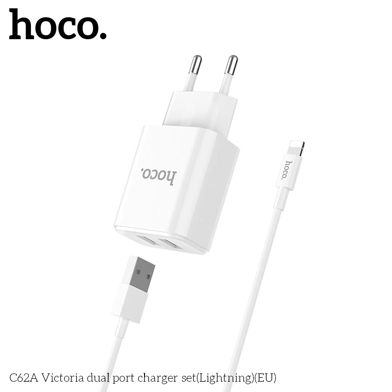 HOCO 5V2.1A Universal Dual USB Wall Charger EU Plug Portable for iPhone Google HUAWEI Samsung Sony Charging Travel Adapter with Lightning cable - Hot Phone Tech