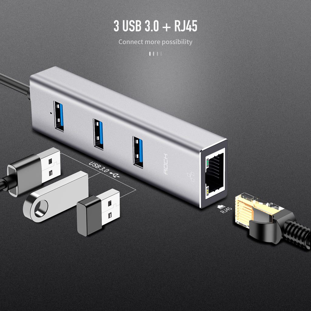 ROCK TYPE C TO USB3.0*3+RJ45 Converter Cable Adapter Good Quality High-Speed Transmission Gigabit Network LED Light - Hot Phone Tech