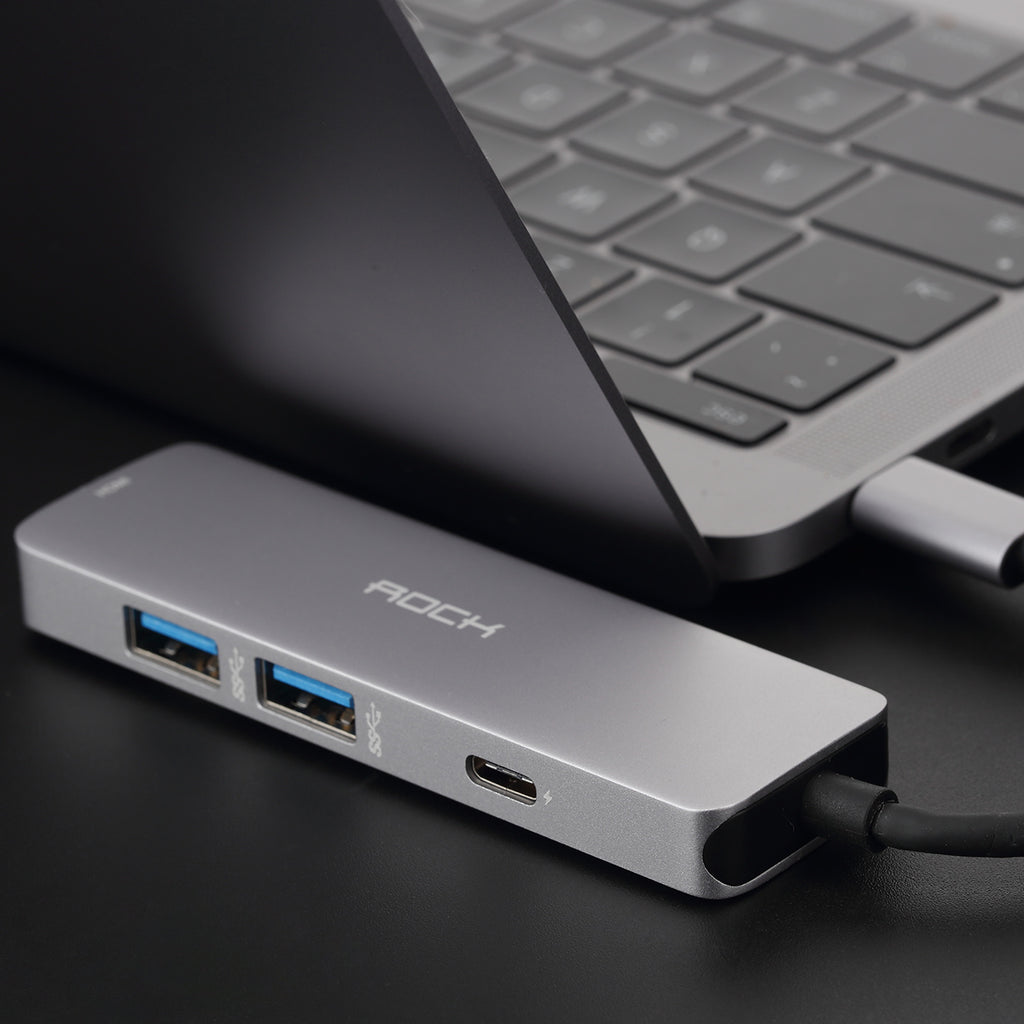 Rock Usb Type C Hub Converter For Macbook Phone Usb-c To Hdmi 4k 87w Pd Adapter Cable Type-C PD Hub Usb 3.0 Thunderbolt 3 Dock - Hot Phone Tech