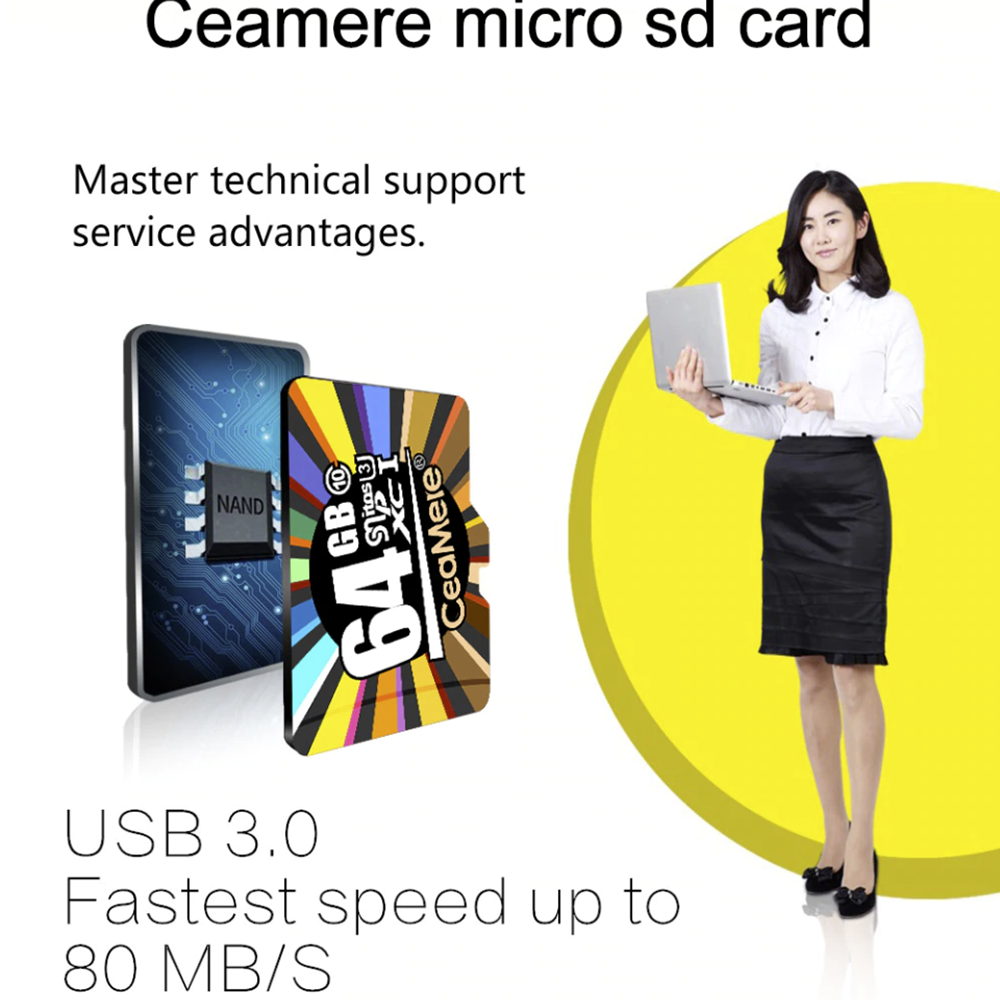 Ceamere 16GB 32GB 64GB 128GB 256GB Micro SD HC Class 10 TF Flash SDHC Memory Card w/ Adapter For Samsung Sony LG HUAWEI Google - Hot Phone Tech