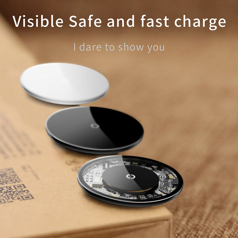 Baseus 10W Qi Wireless Charger for iPhone XR X XS Max 8 Plus Visible Element Wireless Charging Pad for Samsung Google LG HUAWEI
