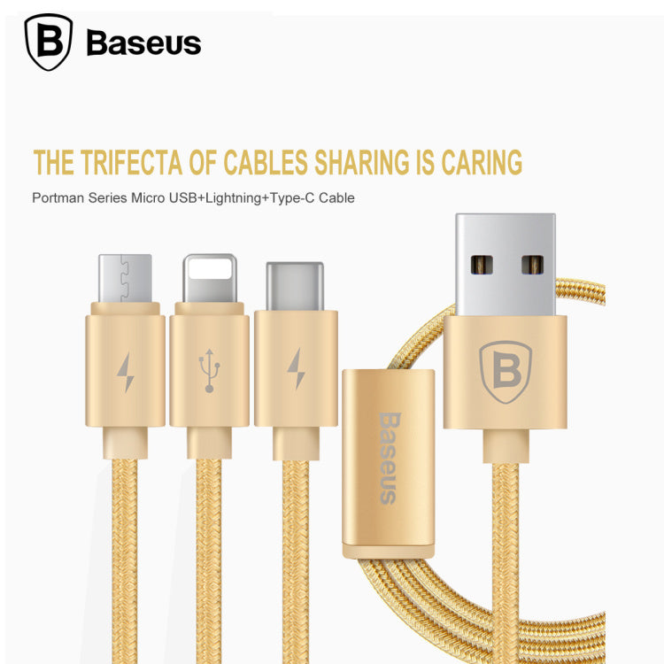 Baseus 3 in 1 USB Cable For Mobile Phone Micro USB Android Type C Charger Cable for iPhone XS MAX XS XR X 8 7 Charging Cable Micro USB Charger Cord - Hot Phone Tech