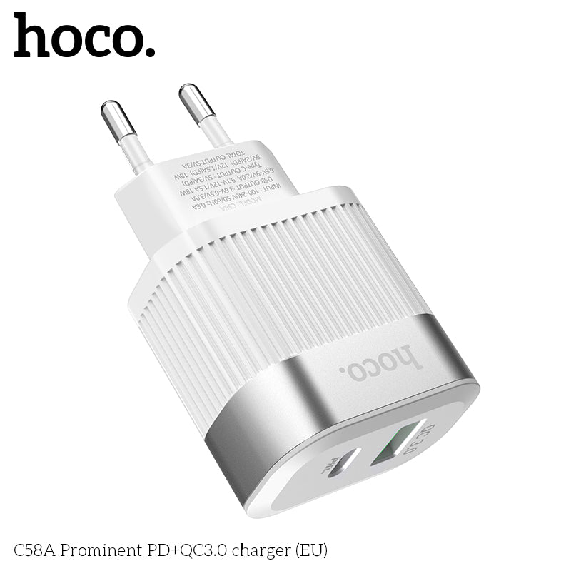 HOCO  Bojure Type-C PD Port 18W + USB Fast Charge Wall Charger ES EU UK For Macbook /iPhone Samsung Google HUAWEI Sony LG Universal Cell Phone With Cable - Hot Phone Tech