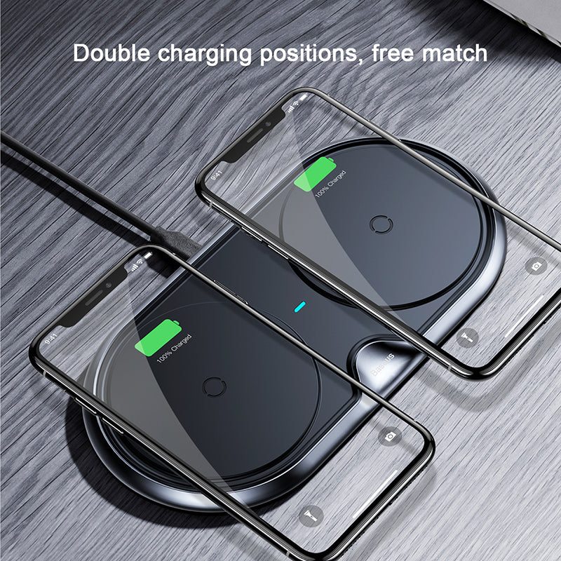 Baseus 10W Dual 2 in 1 QI Wireless Charger For iPhone Xs Max X Samsung LG Google HTC HUAWEI Fast Wireless Charging Charger Pad - Hot Phone Tech
