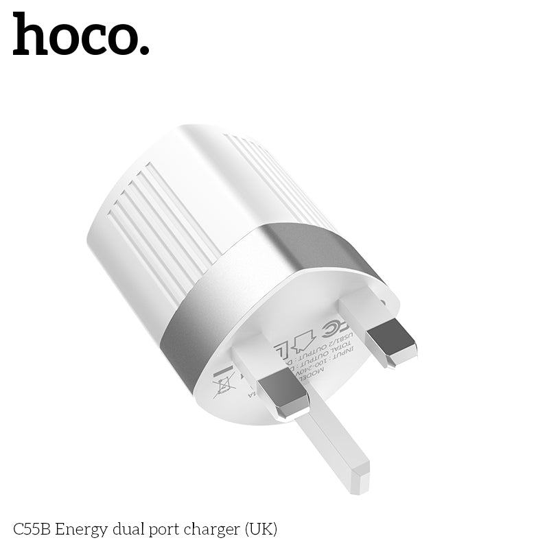 HOCO 5V2.4A Universal Dual USB Wall Charger US EU UK Plug Portable For iPhone Samsung Sony LG HUAWEI Google Charging Travel Adapter - Hot Phone Tech