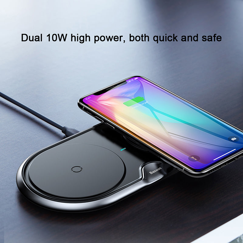 Baseus 2 in 1 Dual QI Wireless Charger For iPhone XS MAX XS XR X 8 10 Samsung LG Google HUAWEI Google LG Sony  HTC Desktop Charger Pad 10W Fast Charging Wireless Charger - Hot Phone Tech
