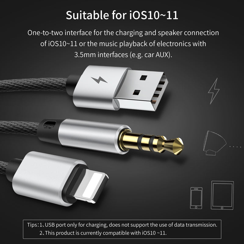 Baseus 2 in 1 USB Cable For iPhone Cable &Aux Audio Cable Earphone Headphone Adapter For iPhone XS MAX XS XR X 8 7 6  to Jack 3.5mm USB Charger - Hot Phone Tech
