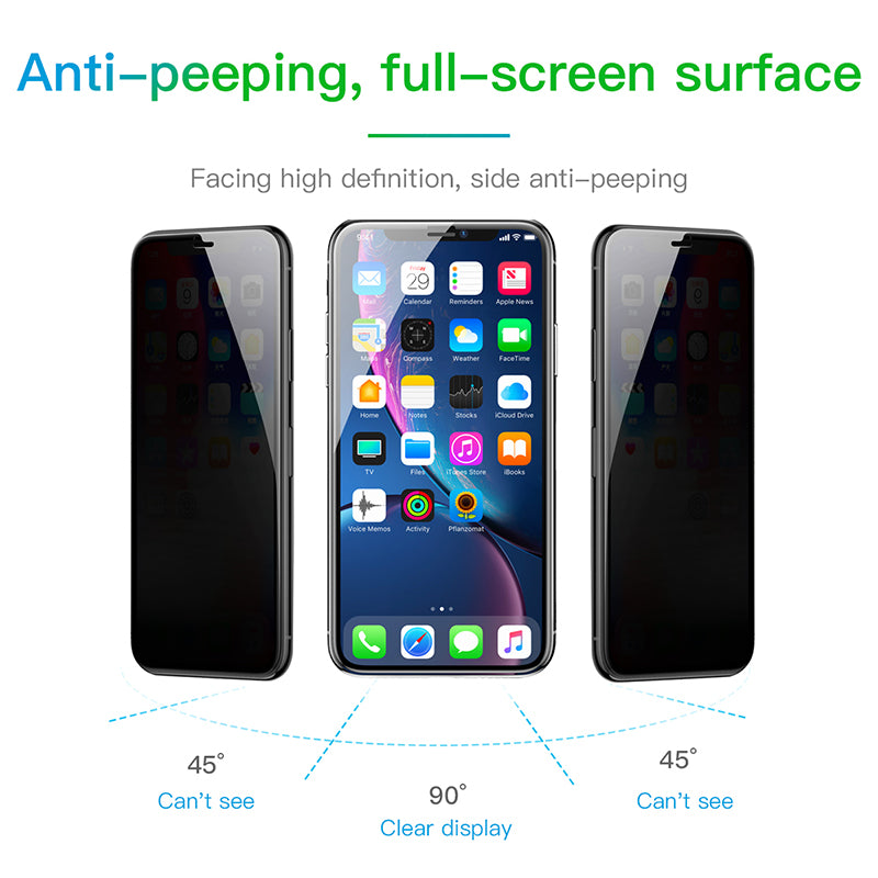 Baseus Anti Spy Privacy Tempered Glass Screen Protector 0.3mm Thin Glass For iPhone XS MAX/XR Glass Film - Hot Phone Tech