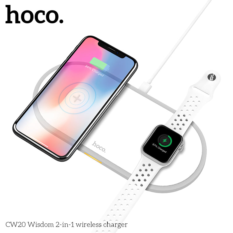 HOCO 2 in 1 Qi Wireless Charger Pad for iPhone 8 X XS Max XR for Apple Watch 4 3 2 1 Airpods 10W Fast Charge For Samsung Google Sony LG HUAWEI - Hot Phone Tech