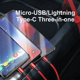 Baseus Magnetic Storage Car Stying 3 in 1 USB Cable for iPhone Charging Cable with Lighting Micro USB Type C Cable For iPhone Samsung Sony LG HUAWEI Google - Hot Phone Tech