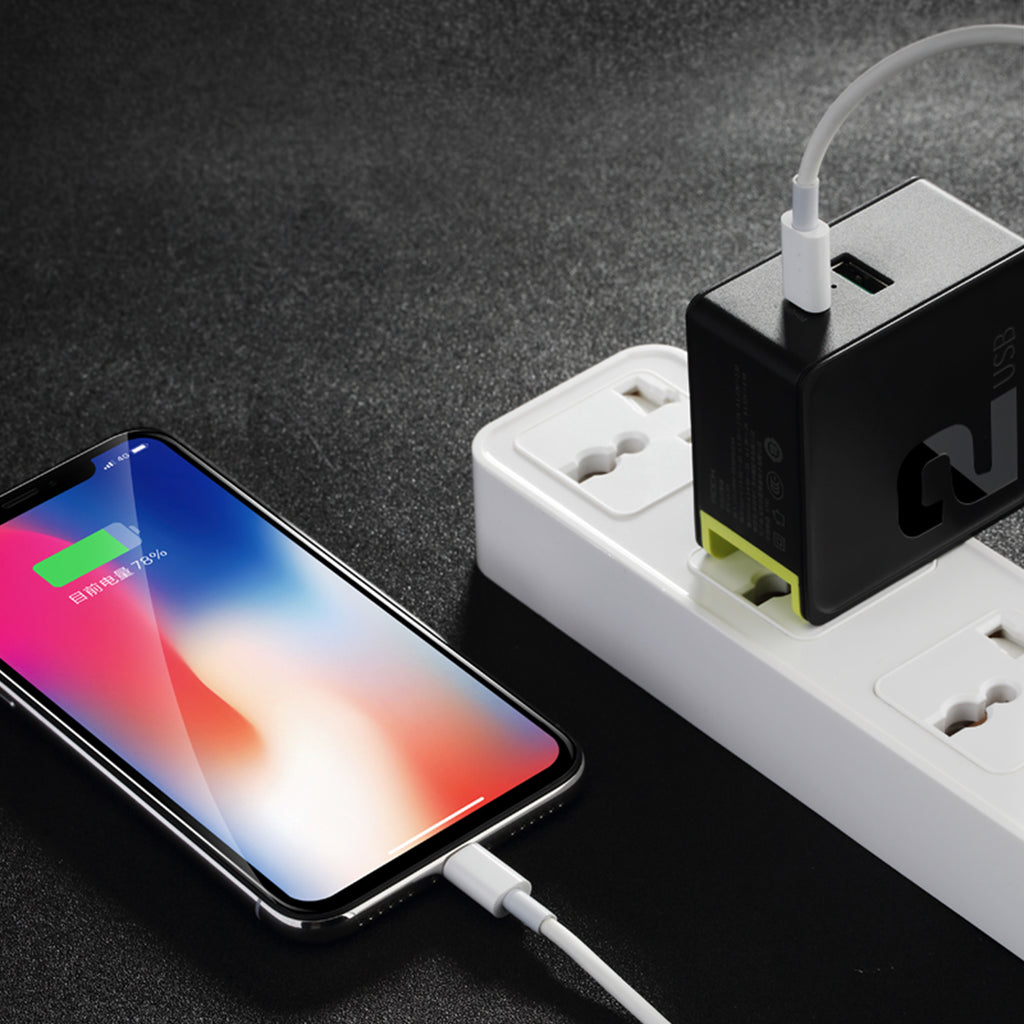 ROCK PD QC 3.0 FCP Dual USB Charger 36W Quick Charge EU US Plug for iPhone XS MAX XS XR X 8 plus + PD Type C to Lighting Charging Cable 15W - Hot Phone Tech