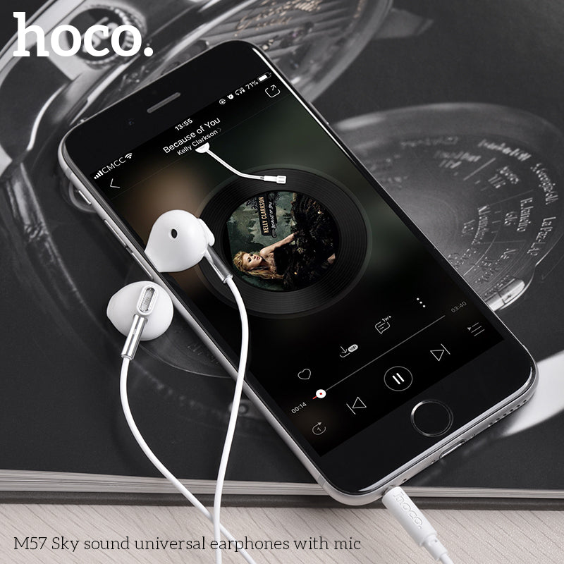 HOCO M57 Earphones 3.5mm Wired Control Earbuds Headset with Microphone for iPhone Samsung Sony Google LG HUAWEI Android Phones High Quality Earphones New - Hot Phone Tech