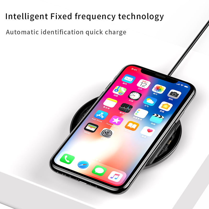 Baseus 10W Qi Wireless Charger for iPhone XR X XS Max 8 Plus Visible Element Wireless Charging Pad for Samsung Google LG HUAWEI - Hot Phone Tech