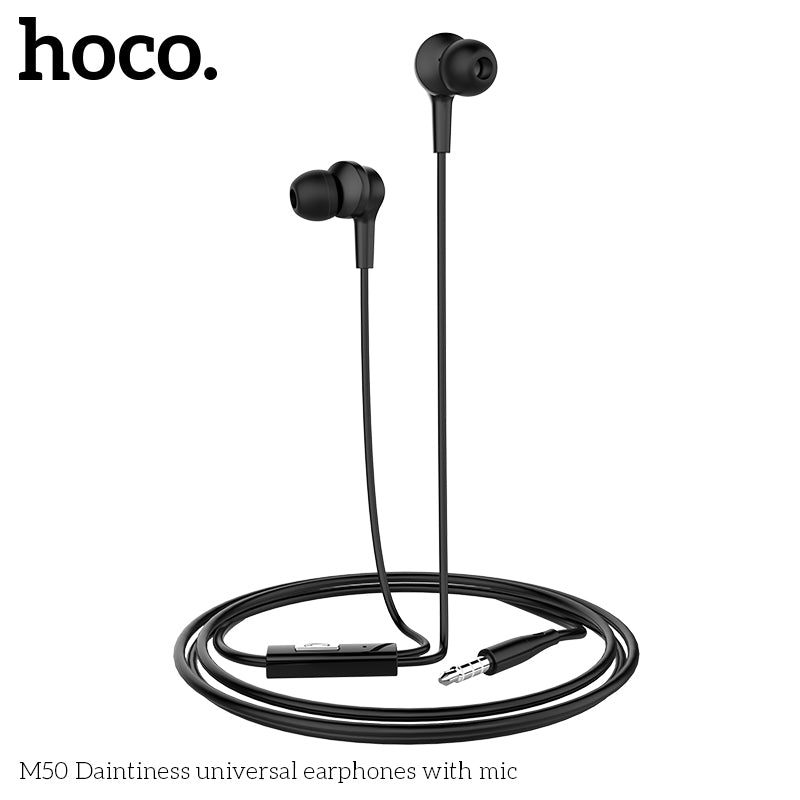 HOCO M50 Earphones 3.5mm Wired Control Earbuds Headset with Microphone for iPhone Android Phones Samsung Sony Google LG HUAWEI  High Quality Earphones - Hot Phone Tech