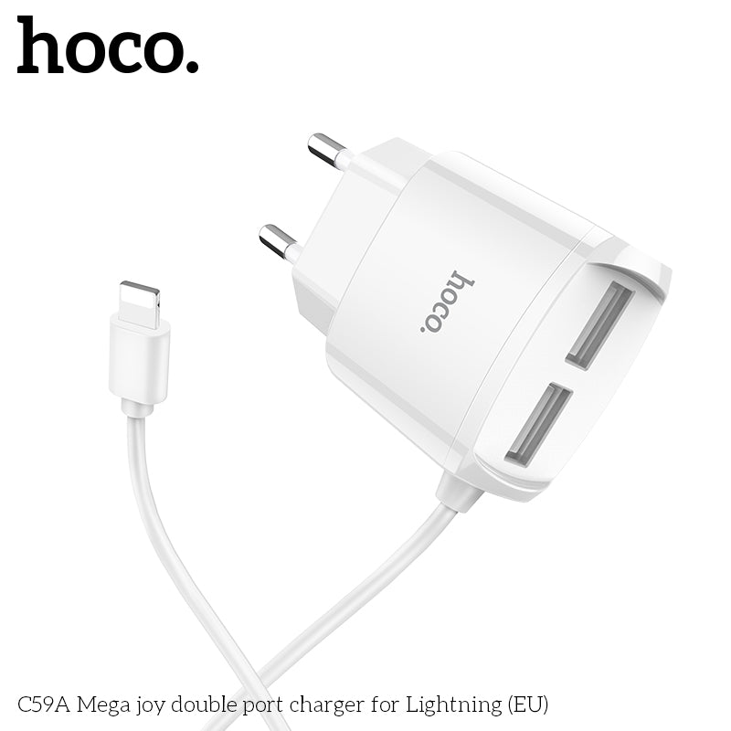 HOCO 5V2.1A Universal Dual USB Wall Charger Plug Portable for iPhone Samsung Sony LG HUAWEI Sony  Charging Travel Adapter with Lightning cable - Hot Phone Tech