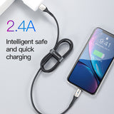 Baseus USB Cable for iPhone XR Xs Max Xs LED Lighting Charge Cable 2.4A Fast Charging Cable for iPhone X 8 7 6 6s Plus Charger - Hot Phone Tech