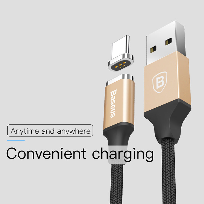 Baseus TOPK 1M 3A Magnetic USB Cable Fast Data Charging Cable Magnet Charger Type C Cable for Samsung Google HTC LG HUAWEI All Android Device - Hot Phone Tech